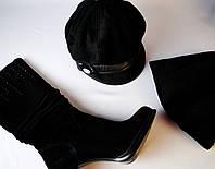 Модная черная кепка с шарфом