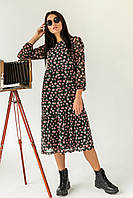 Женственное платье миди с интересным цветочным принтом  Clew - черный цвет, M (есть размеры), фото 1