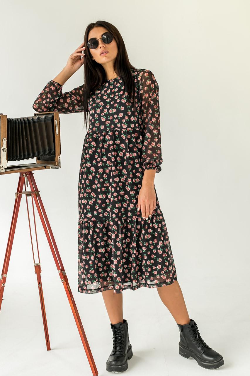 Женственное платье миди с интересным цветочным принтом  Clew - черный цвет, M (есть размеры)