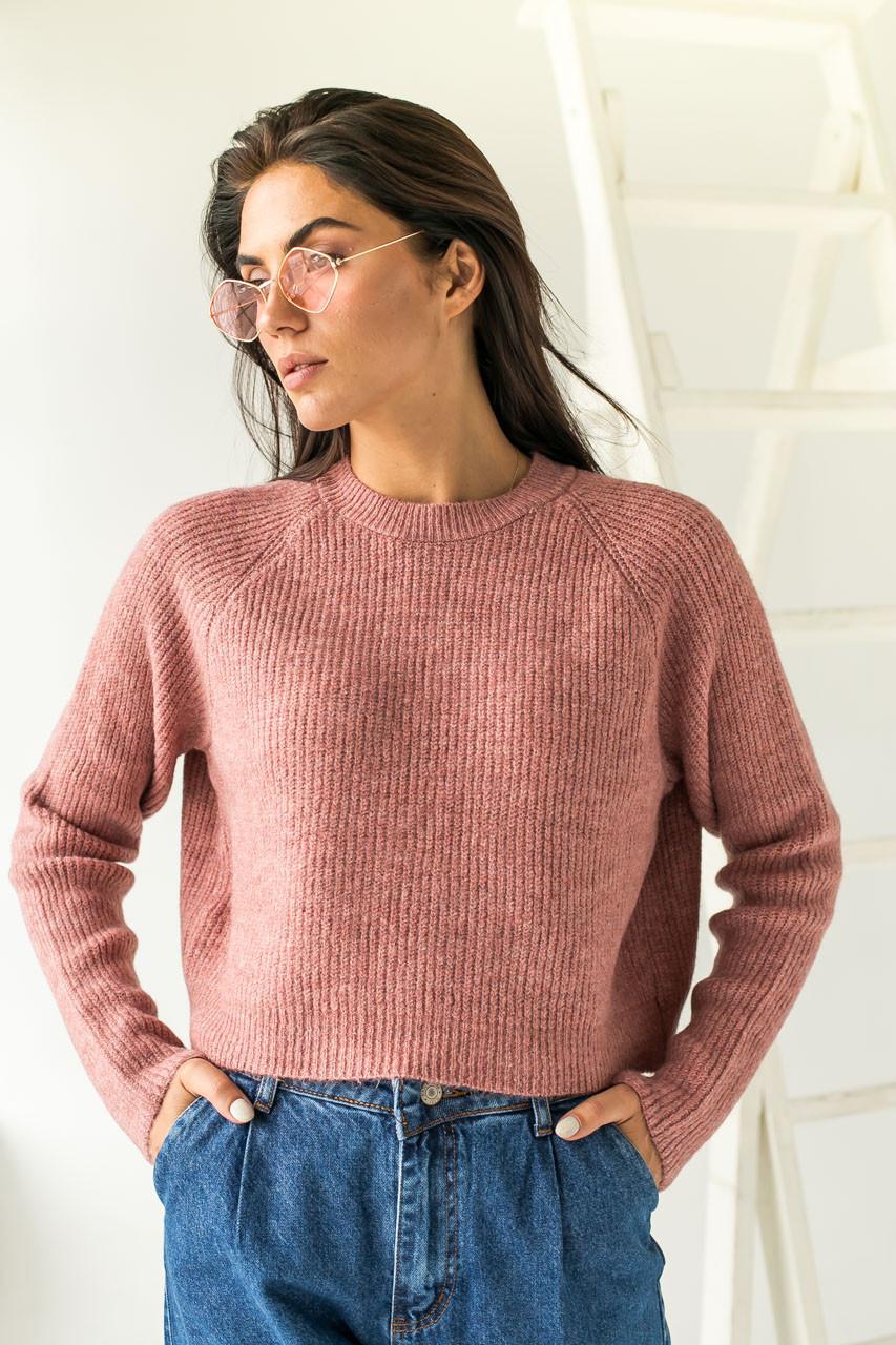 Модный кроп-свитшот реглан Figo - розовый цвет, S (есть размеры)