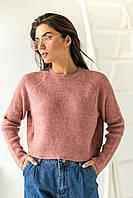 Модный кроп-свитшот реглан Figo - розовый цвет, S (есть размеры), фото 1
