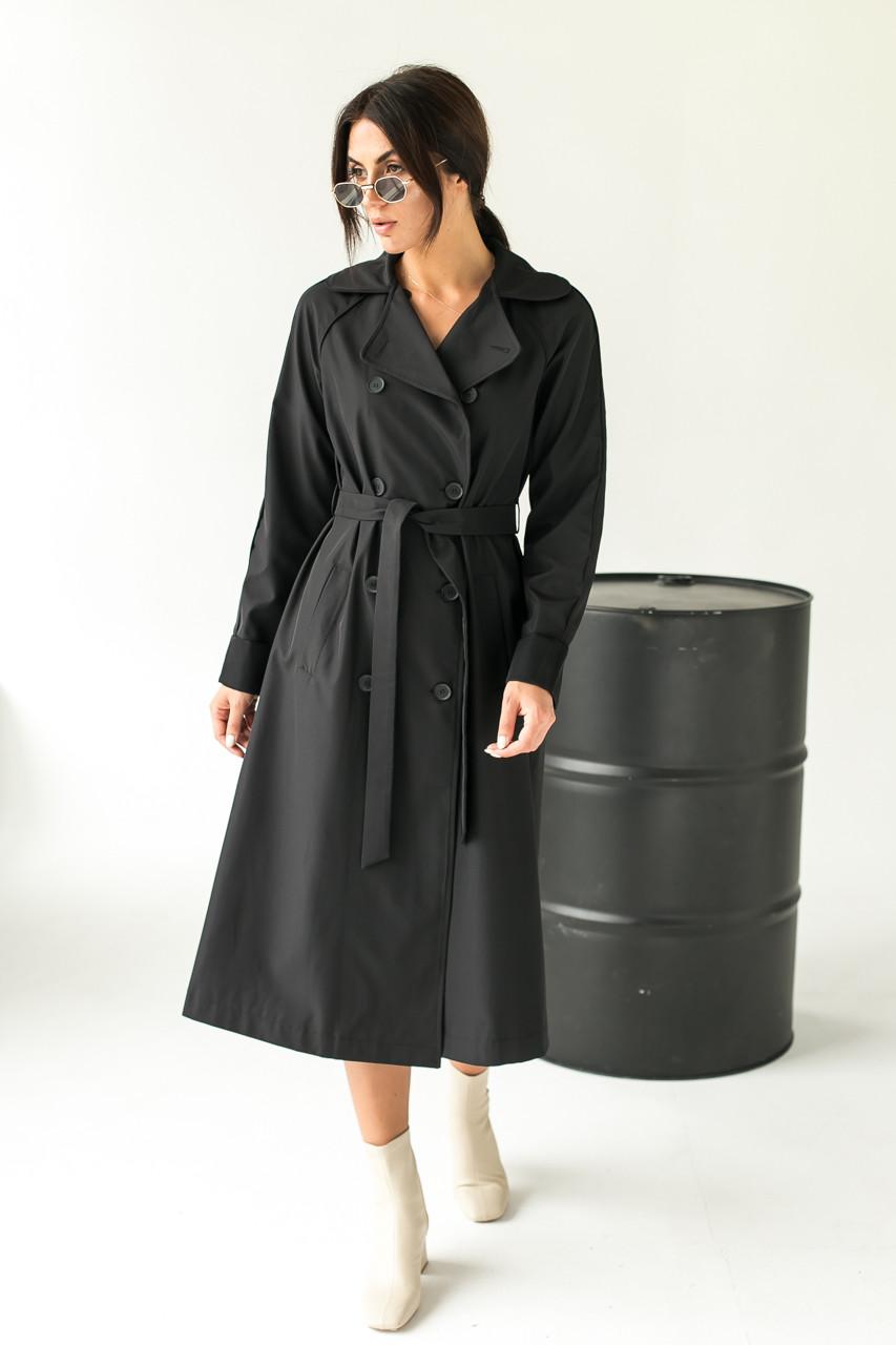 Модний плащ жіночий тренчкот Loreen - чорний колір, 46р (є розміри)