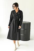 Модний плащ жіночий тренчкот Loreen - чорний колір, 46р (є розміри), фото 1