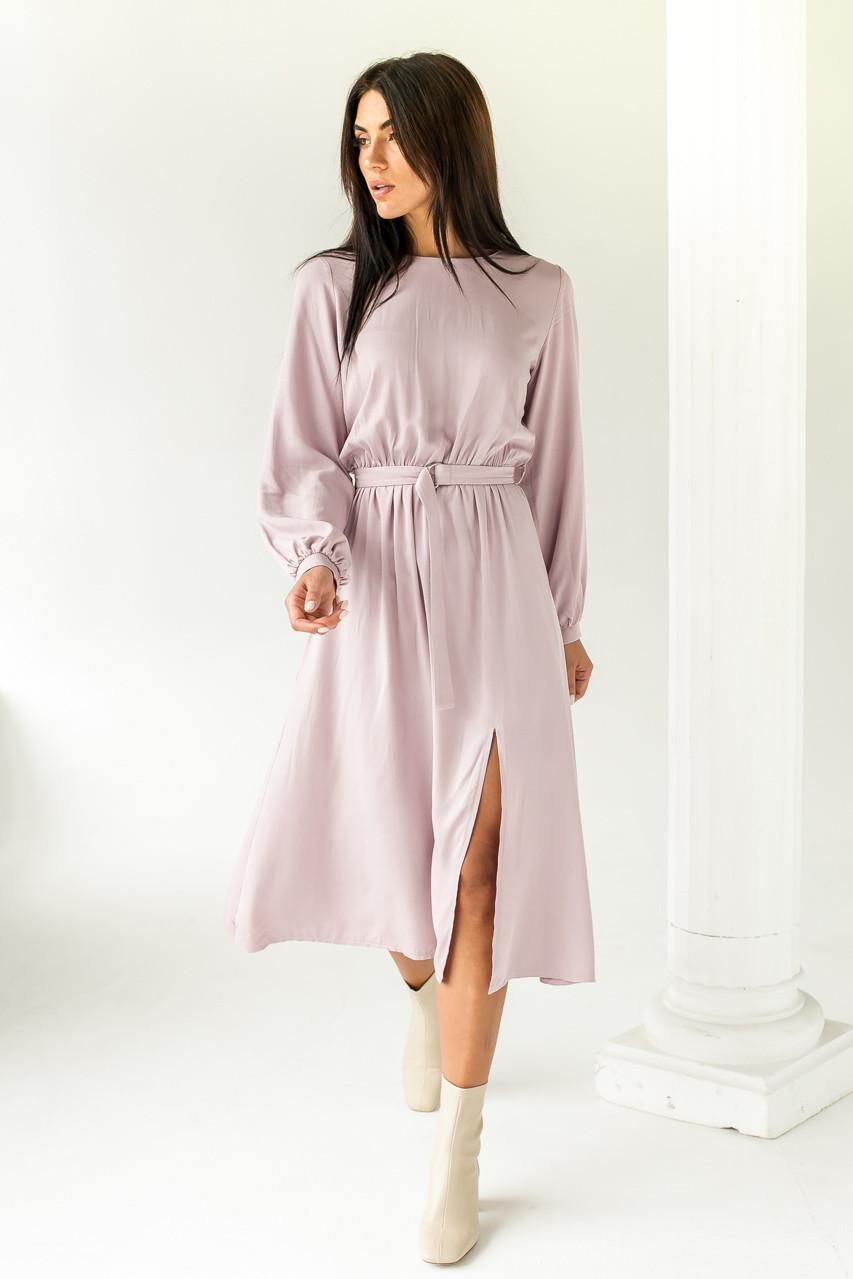 Элегантное платье однотонное с пояссом  LUREX - розовый цвет, L (есть размеры)
