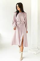 Элегантное платье однотонное с пояссом  LUREX - розовый цвет, L (есть размеры), фото 1