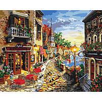 """Картина по номерам. Городской пейзаж """"Уютная улочка"""" 40*50 см KHO2132"""