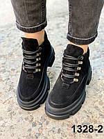 Ботинки женские деми замшевые черные, фото 1