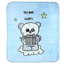 Детское одеяло голубое покрывало в детскую пледик 100x110см