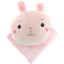 Дитяча плюшева іграшка плед, рожеве покривало в дитячу, плед трансформер іграшка 180х110см
