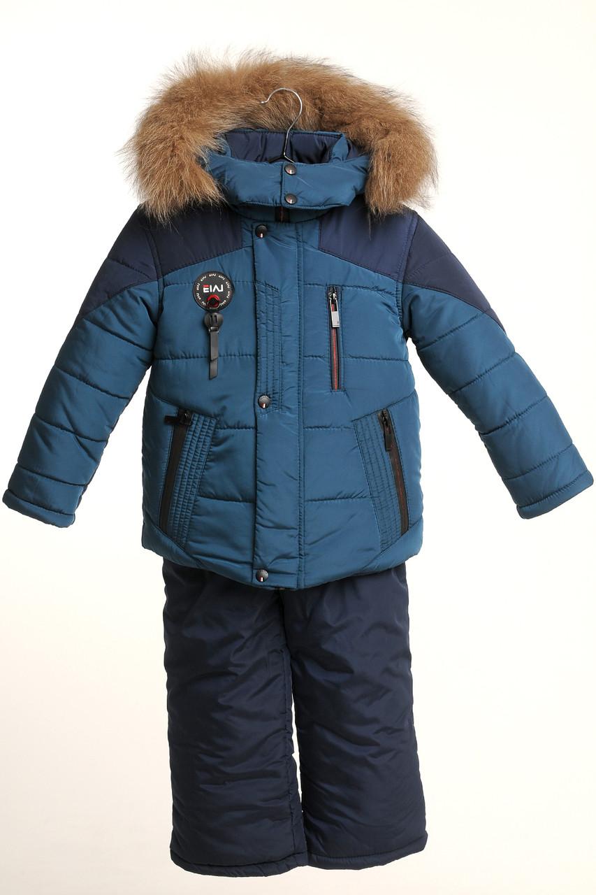 Детский зимний комбинезон для мальчика 22-28 Бирюза