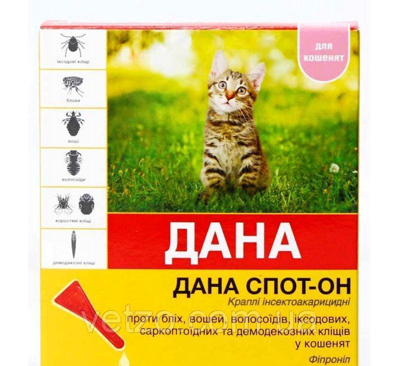 ДАНА Спот-Он капли от блох и клещей для котят, 3 пипетки по 0,5 мл