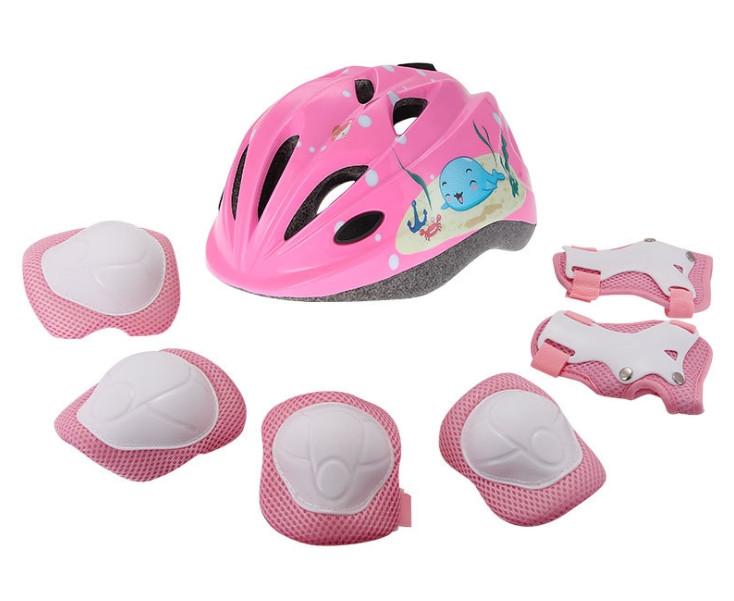 Детская защита KASTO для катания на велосипеде, роликах, самокате. Шлем детский KASTO в комплекте с защитой.