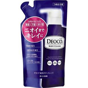 ROHTO Deoco Гель для душа с лактоном, каолином возвращает естественный запах, сменный блок, 250 мл
