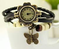 Часы браслет с бабочкой (черные)