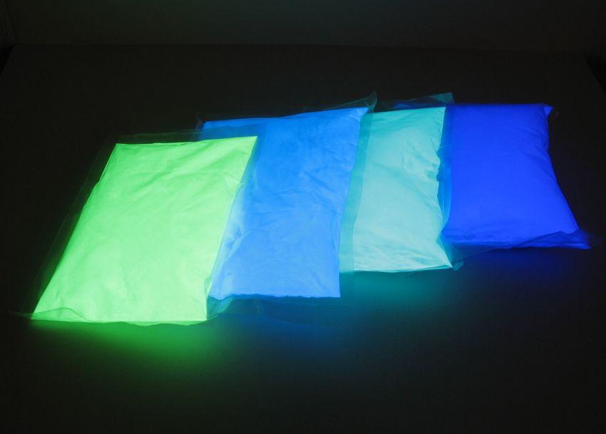 Люминофор белый полупрозрачный/ яркое зеленое свечение (пигмент,светящийся в темноте), 1 кг.