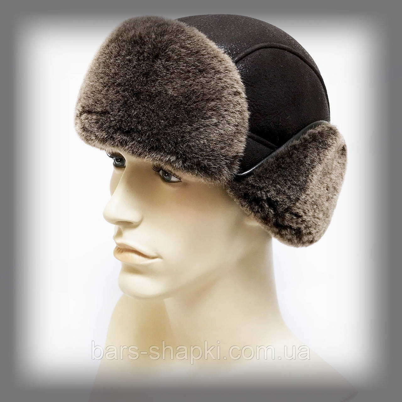 """Мужская шапка из овчины """"Кортоткие уши"""" (коричневая)"""