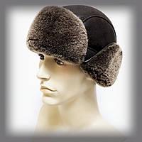 """Мужская шапка из овчины """"Кортоткие уши"""" (коричневая), фото 1"""