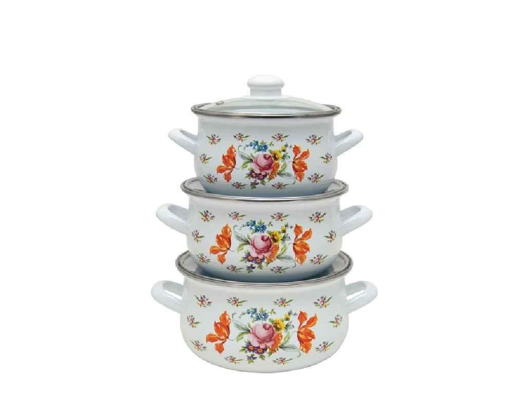 Набор эмалированной посуды Infinity Голубые цветы 3 предмета
