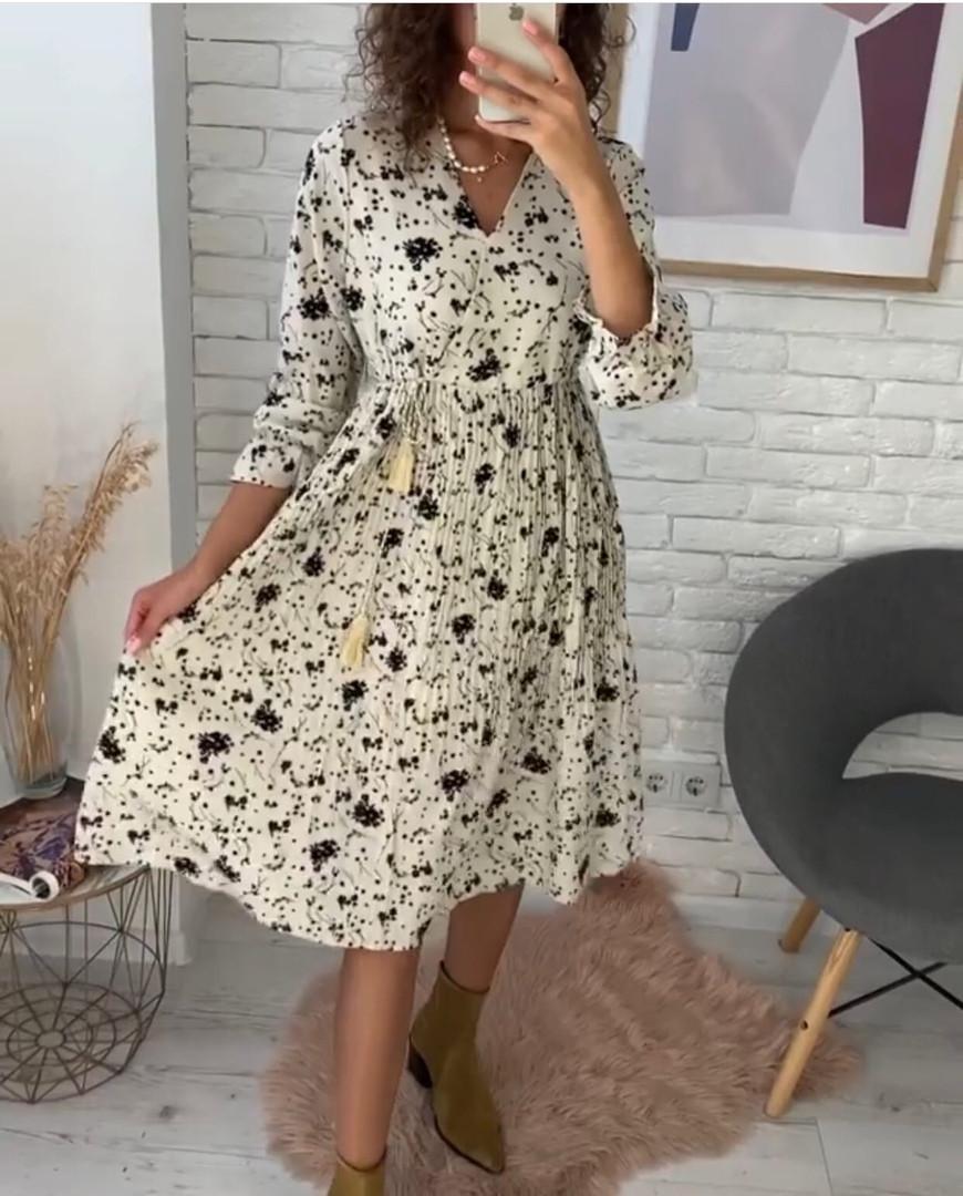 Платье цветное в цветочный принт с рукавом №3/4, с запахом на груди, разные цвета, Р-р.42-46 Код 706Т