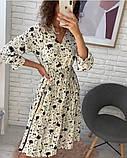 Платье цветное в цветочный принт с рукавом №3/4, с запахом на груди, разные цвета, Р-р.42-46 Код 706Т, фото 2
