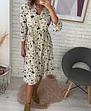Платье цветное в цветочный принт с рукавом №3/4, с запахом на груди, разные цвета, Р-р.42-46 Код 706Т, фото 3