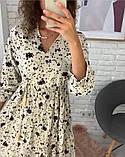 Платье цветное в цветочный принт с рукавом №3/4, с запахом на груди, разные цвета, Р-р.42-46 Код 706Т, фото 4