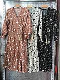 Платье цветное в цветочный принт с рукавом №3/4, с запахом на груди, разные цвета, Р-р.42-46 Код 706Т, фото 5