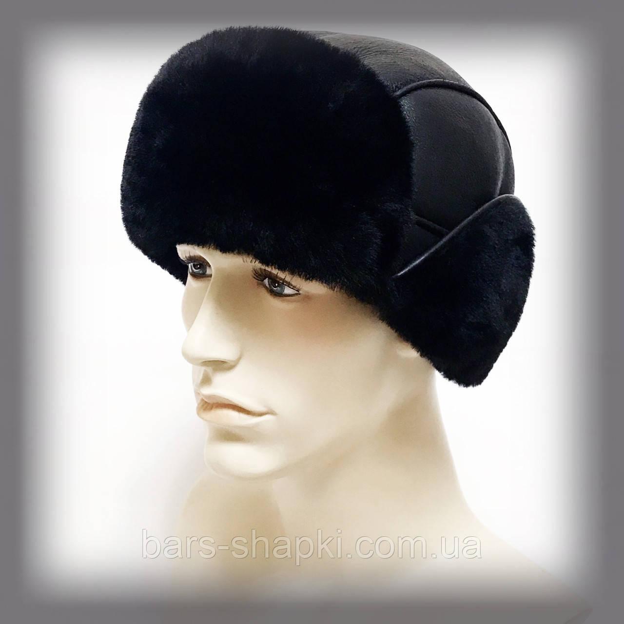 """Мужская шапка из овчины """"Короткие уши"""" (чёрная)"""
