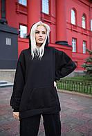 Худи оверсайз унисекс Taboo Kyiv базовый черный женский