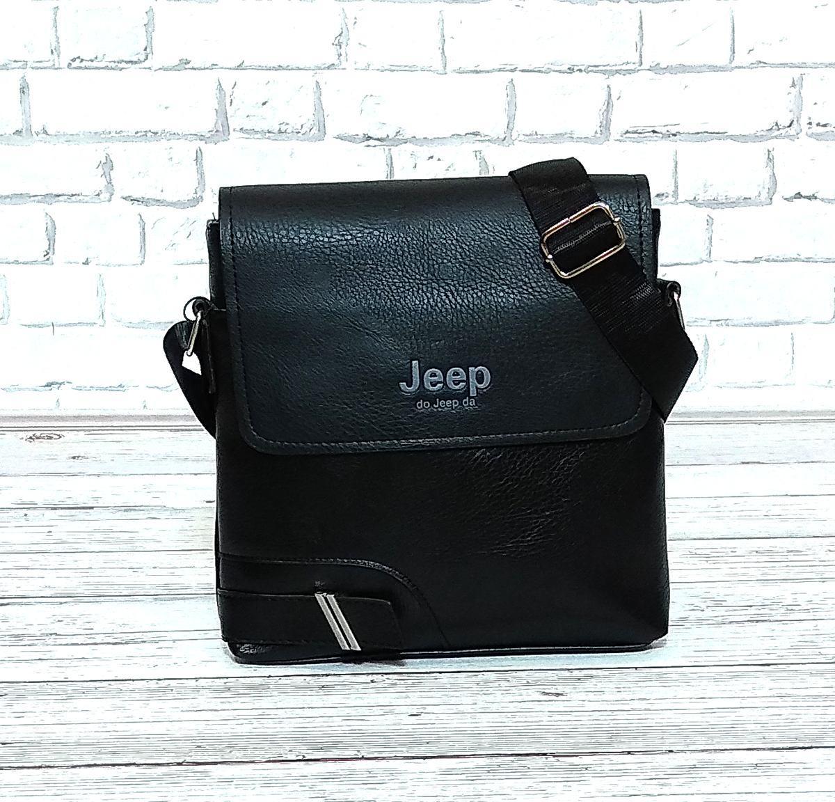 Мужская сумка через плечо Jeep. Черная. 25x23х5 Кожа PU / 559-2 black