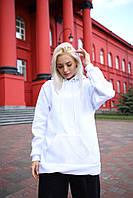 Худи оверсайз унисекс Taboo Kyiv базовый белый женский