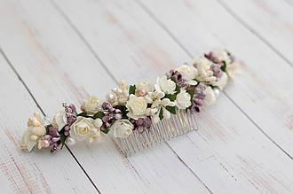 Гребень заколка для волос в прическу с цветами и бусинами свадебный 18-1 Об