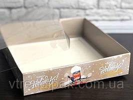 """Коробка для пряника 160*160*35 """"Горобчик"""" з прозорою кришкою ПВХ"""