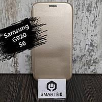 Чехол книжка для Samsung S6 (G920) Золотой, фото 1