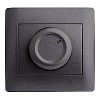Светорегулятор 600 Вт (с рамкой) LXL Oscar графитовый металлик