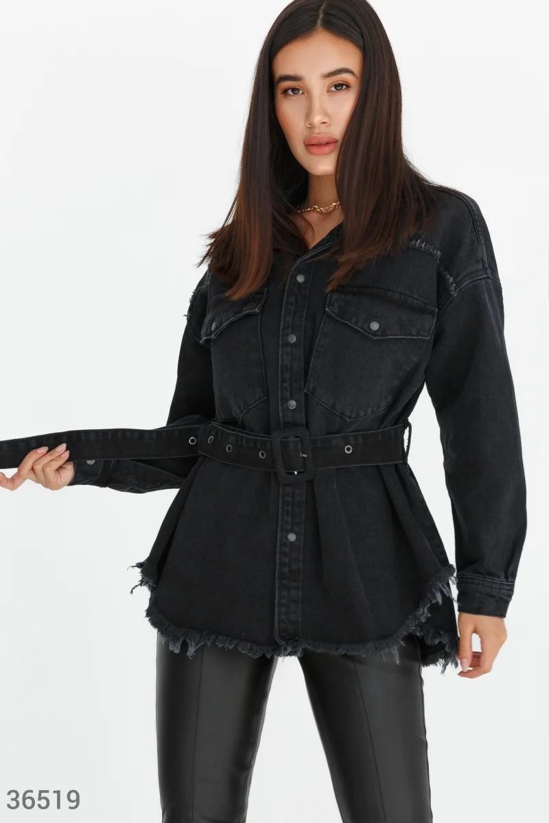 Стильна чорна куртка з деніму S,M,L