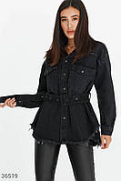 Стильна чорна куртка з деніму S,M,L, фото 1