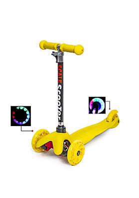 Самокат дитячий триколісний Micro Mini жовтий, світяться колеса
