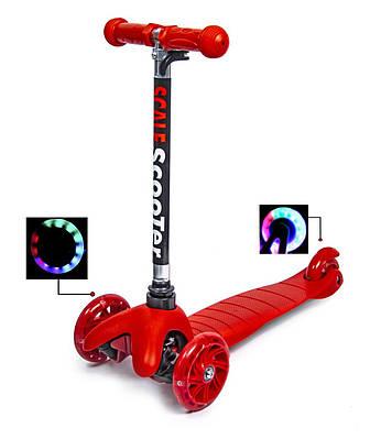 Самокат триколісний дитячий Micro Mini червоний, колеса світяться
