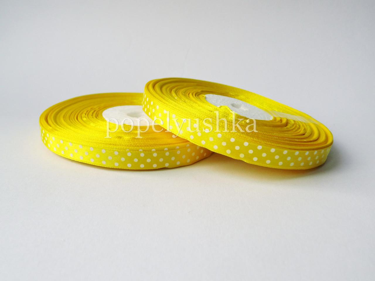 Стрічка в горох 1 см жовта