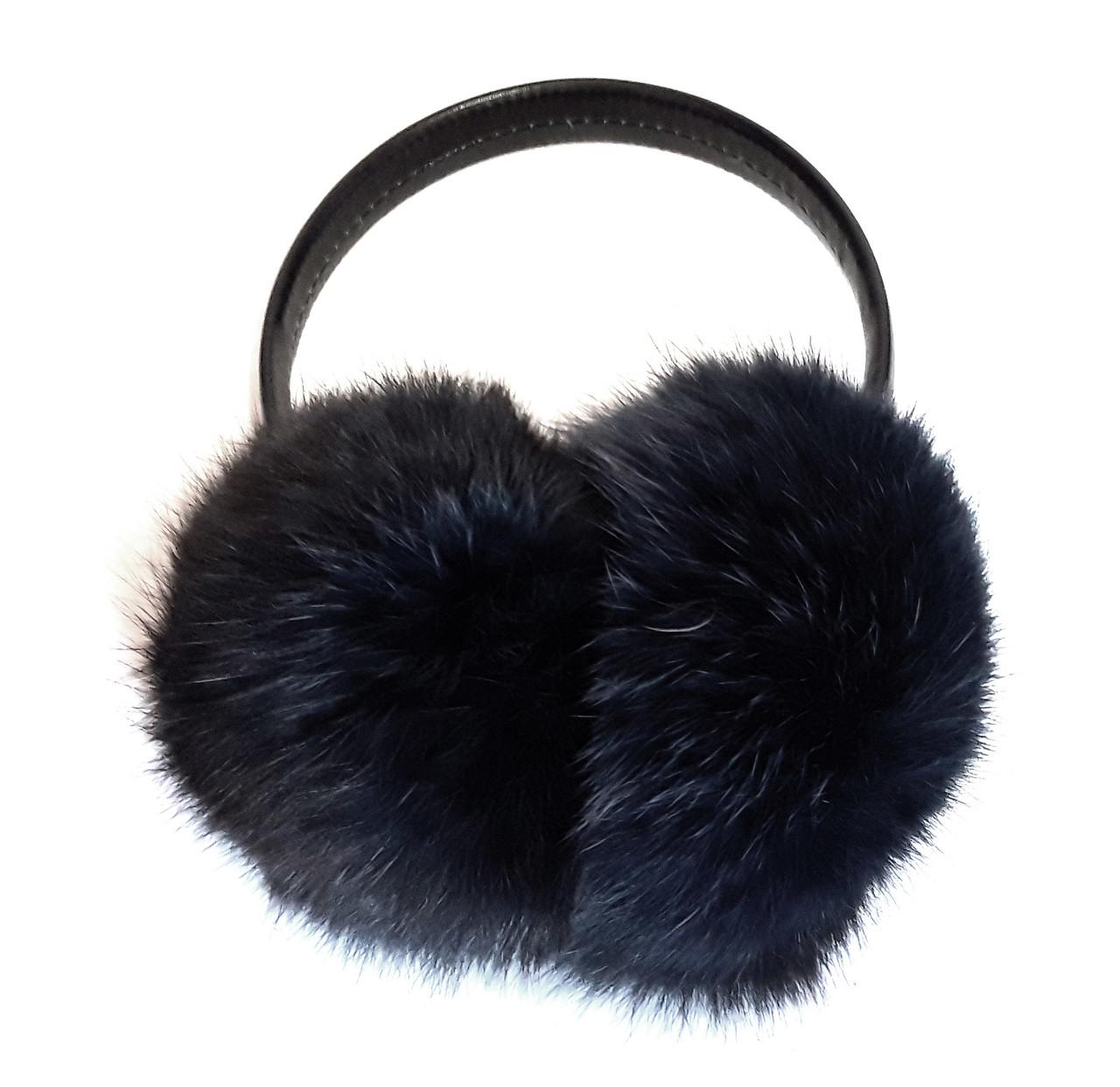 Навушники з натурального хутра, чорні