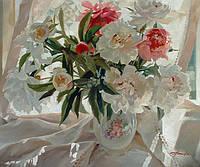 Картина натюрморт цветы «Белые пионы в вазе» (купить картину для дома, купить картину натюрморт)
