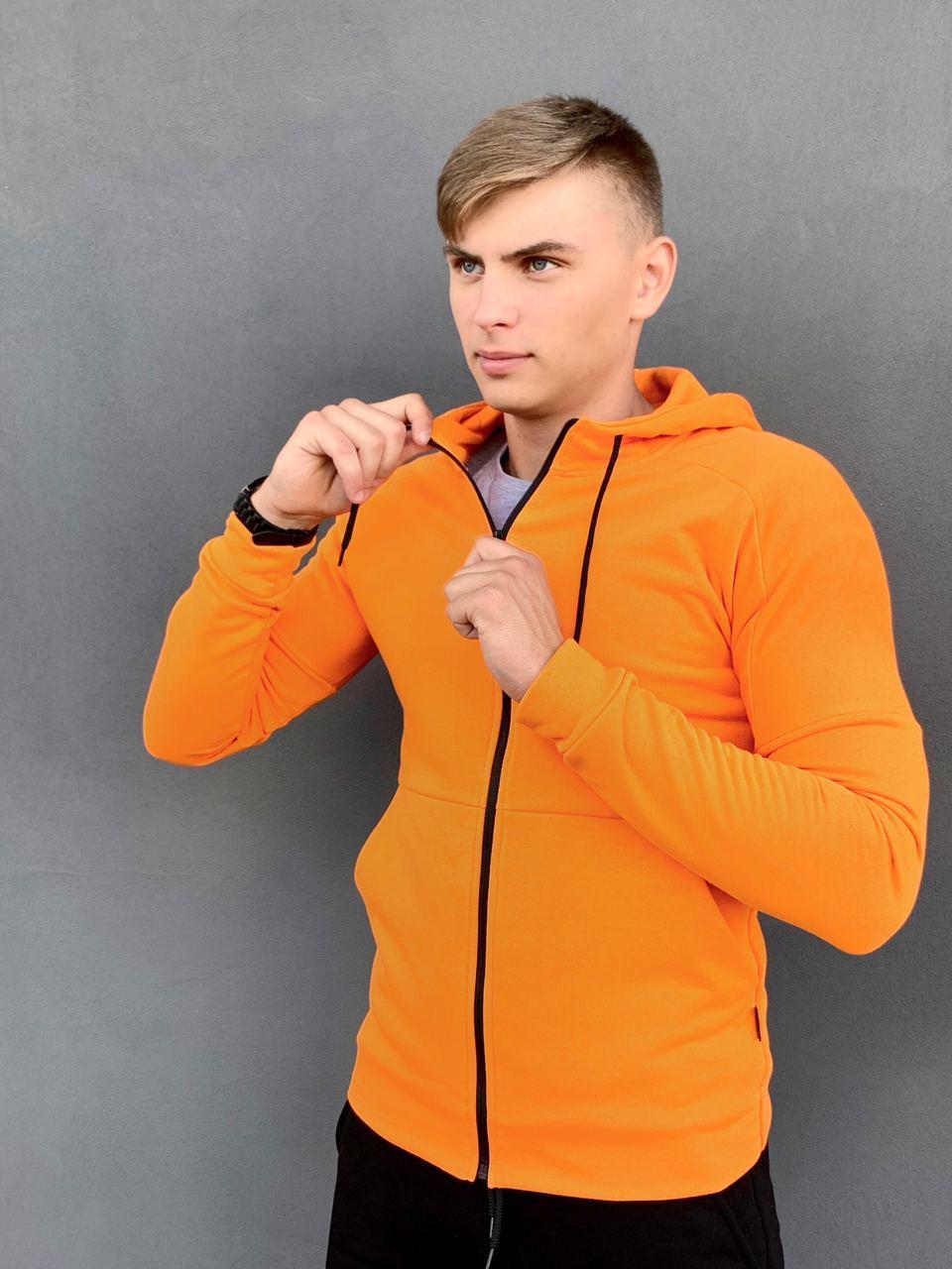 Кофта Мужская Intruder 'Cosmo' оранжевая спортивная толстовка с капюшоном