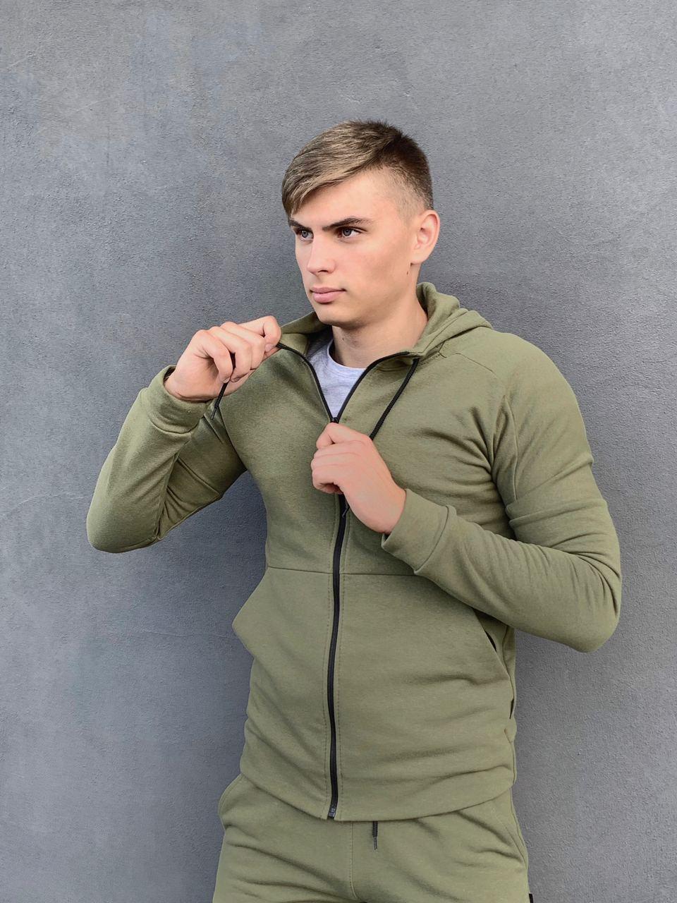 Кофта Чоловіча Intruder 'Космо' спортивна хакі толстовка з капюшоном + Подарунок