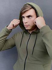 Кофта Чоловіча Intruder 'Космо' спортивна хакі толстовка з капюшоном + Подарунок, фото 2