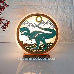 Соляной светильник круглый Динозавр цветной