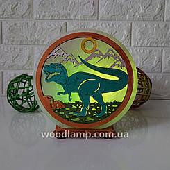Соляна лампа кругла Динозавр кольорова