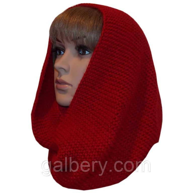 Вязаный шарф - снуд терракотового цвета объемной ручной вязки