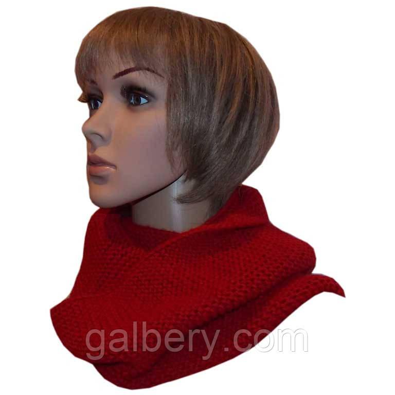 Вязаный шарф-снуд терракотового цвета объемной ручной вязки