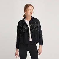 Рубашка женская джинсовая с бахромой в стиле ZARA. Стильная куртка, размер M (черная)